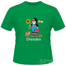 Kid`s  T Shirt with a Mole on a green Shirt