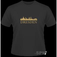 Men´s Shirt Golden Dresden Skyline on a black shirt