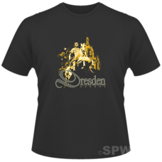 Men´s Shirt Yellow/ Golden Dresden Church of our Lady and August the Strong on a black shirt